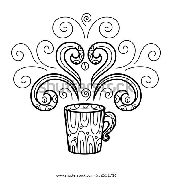 Coffee Mug Abstract Style Pattern Zentangle Stock Vector