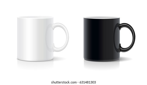 Coffee mug black and white. Vector