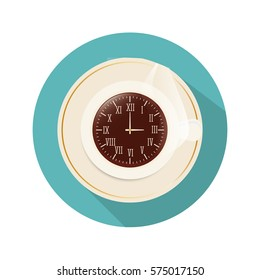 coffee mug clock icon image vector illustration design