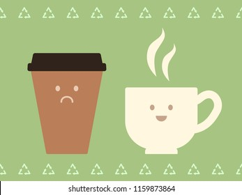 Coffee mug with a happy smiling face and take away coffe cup with sad face ecology concept, vector