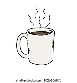 Coffee. A mug with coffee. Hot drink. I love coffee. Hearts. Nice illustration. Vector on white background. Americano, cappuccino, latte, espresso, mocha.