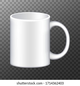 Coffee mug. Realistic white cup isolated on transparent background. Vector promotional mockup
