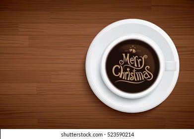 coffee mug with words merry Christmas on brown wood table