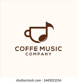 coffee music cafe bar restaurant logo illustration vector icon