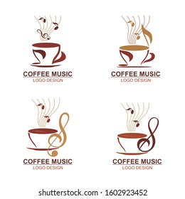 Coffee music logo - icon design template with a cup, coffee bean and music icon Vector illustration