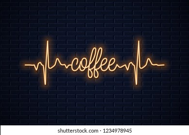 coffee neon concept design on wall background