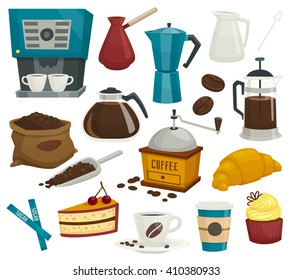 Coffee objects isolated on white, icons, cup,croissant,cake,pot,kettle,beans