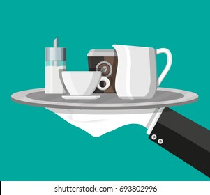 Coffee on saucer, milk jug, sugar dispenser and paper coffee cup on plate in hand of waiter. Vector illustration in flat style