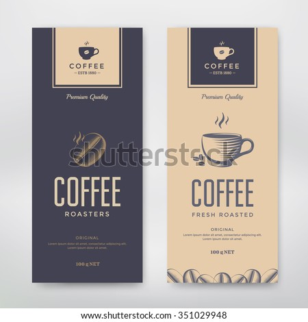 coffee packaging design vector template package stock vector