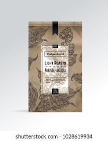 Coffee Packaging Designn with label & hand-drawn illustration of coffee branches & beans. Background of kraft paper. Isolated vector for design of vintage packaging