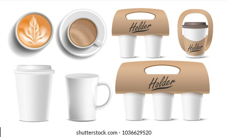 Coffee Packaging Vector. Mockup Shop Paper, Plastic Coffee Cup. Top, Side View.  Holder For Carrying, One, Two, Three Cups. Hot Drink. Take Away Cafe Brand Identity Mockup. Illustration