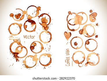 Coffee paint stains, splashes and harts isolated on white background.Coffee cup marks. Vector coffee set.