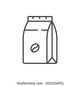 Coffee paper bag, sack line icon.