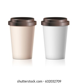 Coffee paper cup set without label. Brown plastic container for drink. Latte, mocha or cappuccino cup for cafe.