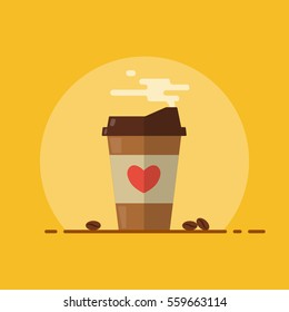 Coffee paper cup with steam. Coffee beans. Flat design. Vector illustration.