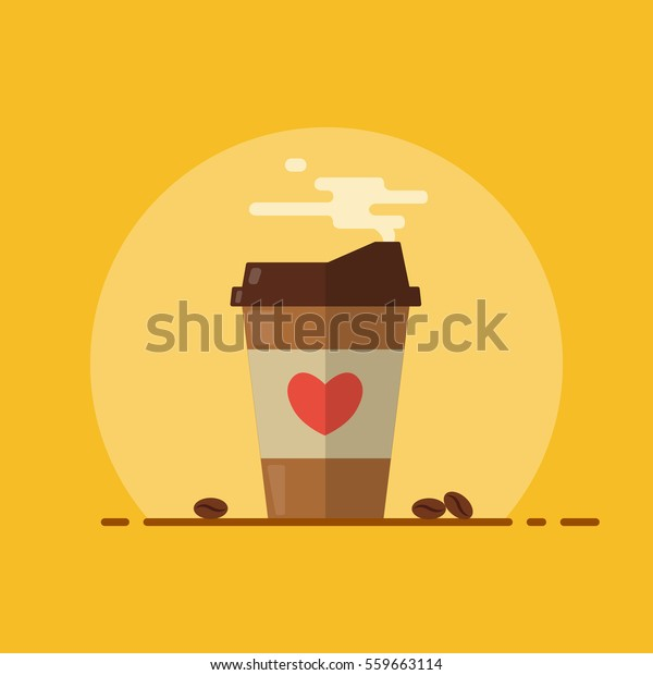 Coffee Paper Cup Steam Coffee Beans Stock Vector (Royalty