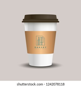 Coffee Paper Cup Template Set With Place Your Logo Isolated On Background Use For Corporate