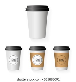 Coffee paper cup template set with place your logo isolated on background use for your corporate identity design brand coffee shop, coffee house, restaurant, cafe and other. Vector Illustration