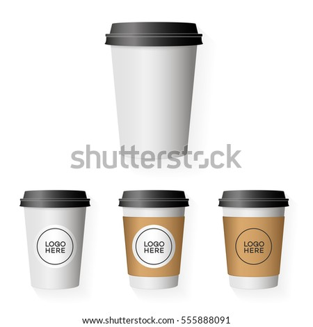 coffee paper cup template set place のベクター画像素材