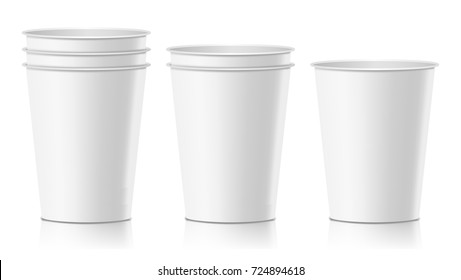 Coffee Paper Cup Vector. Empty Clean Paper Or Plastic Container For Drink. Isolated Illustration