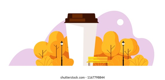 Coffee in the park. Paper cup of coffee in autumn park. Trees, bench, lantern, clouds, yellow park. Concept cozy mood with coffee.