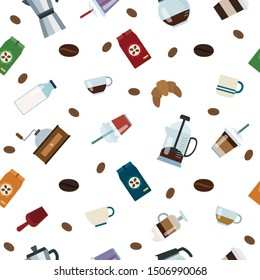 Coffee pattern, cups, coffee container, coffee pots, coffe bags and coffee beans.