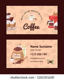 Coffee pattern vector coffeebeans business card coffeecup drink hot espresso or cappuccino in coffeeshop backdrop set mug with caffeine in bar illustration business-card background