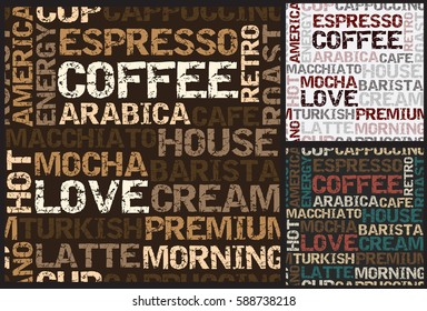 coffee pattern with words