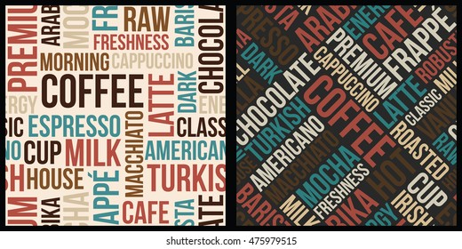 coffee pattern with words in retro style