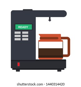 Coffee percolator vector icon drink espresso cup. Maker caffeine machine french press. Bean equipment flat isolated
