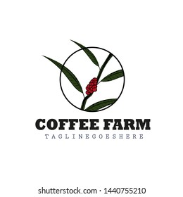 Coffee plant / tree logo design inspiration for farmers / plantations with circle illustration