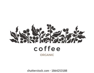 Coffee plant. Vector border. Shape of branch, leaf, aroma beans. Nature silhouette on white background. Vintage botanical art illustration, simple print