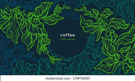 Coffee plant. Vector green background. Art line illustration. Tropical tree, aroma bean, leaves. Fresh farm plantation. Aroma arabica, robusta. Night forest
