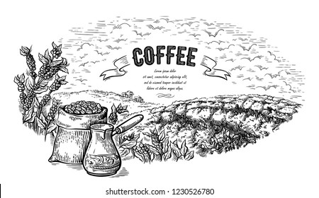 coffee plantation landscape bag bush and coffeepot in graphic style hand-drawn vector illustration.