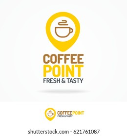 Coffee point logo set isolated on white background. Vector design elements, business signs, labels, badges, logos, identity and other branding objects for your business. Vector illustration.