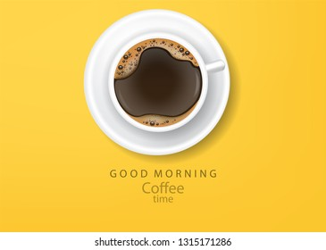 Coffee poster realistic vector illustration  top view yellow background