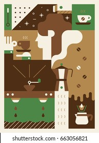 coffee poster vector illustration flat design