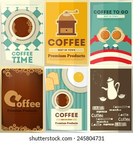 Coffee Posters Set - Collection Posters on Theme of Coffee. Vector Illustration.