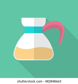 Coffee pot icon , Vector flat long shadow design.
