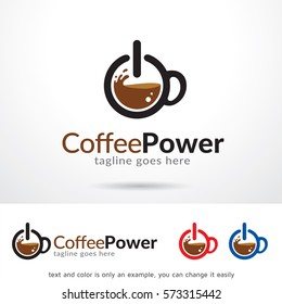 Coffee Power Logo Template Design Vector
