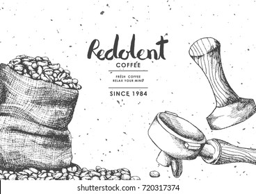 Coffee product label with Coffee bean in sackcloth , Wood Porta filter and Wood tamper Use by Pen & Ink Sketch Drawing Technique.