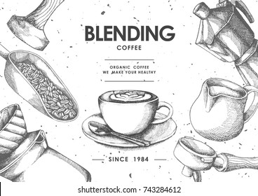 Coffee product label by Pen & Ink Sketch Drawing Technique.vector and illustration.