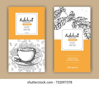 Coffee product with yellow color and latte art coffee template for Label packaging.Use by Pen & Ink Sketch Drawing Technique.Vector & illustration.