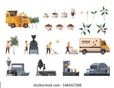 Coffee production cartoon set with industry equipment symbols isolated vector illustration