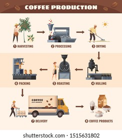 Coffee production poster with processing and roasting symbols cartoon vector illustration