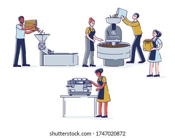 Coffee production stages: coffeehouse workers roasting, grinding beans and making beverage with coffee machine. Industry and coffeeshop business concept. Linear vector illustration