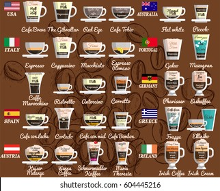 Coffee recipes from around the world.  Espresso, regular brewed and instant coffee as well as beverages on their basis with the use of milk and alcohol.Vector Infographic set.