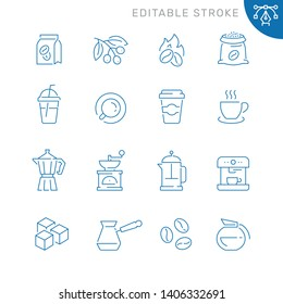 Coffee related icons. Editable stroke. Thin vector icon set
