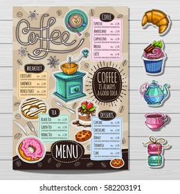 Coffee restaurant brochure vector, coffee shop menu design, sketch style. Coffee, desserts, tea, breakfast, cakes, donut. Lettering, cup, logo. Hand drawn vector.