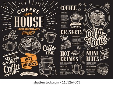Coffee restaurant menu on chalkboard. Vector drink flyer for bar and cafe. Design template with vintage hand-drawn food illustrations.